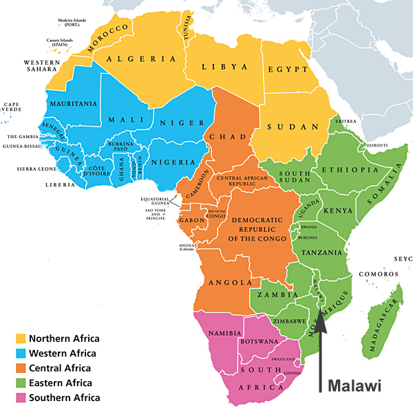 Map of Africa showing Malawi