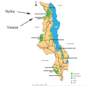 Nyika National Park and Vwaza Marsh on Malawi map
